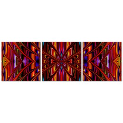 Triptych Canvas Red Tree