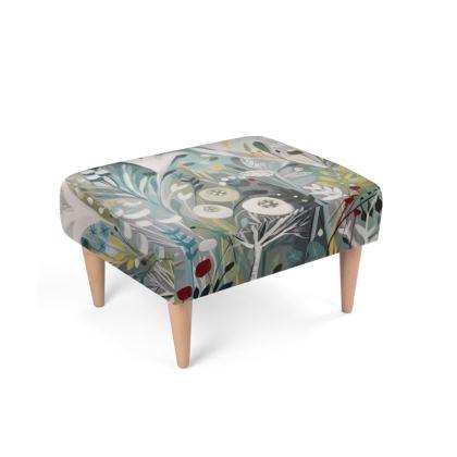 Footstool in Winter Greys design by Natalie Rymer