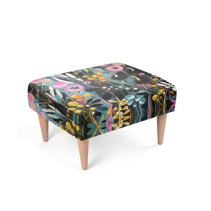 Footstool in Wild Flowers design by Natalie Rymer