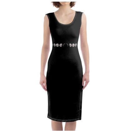 Moon Phase Black Bodycon Dress