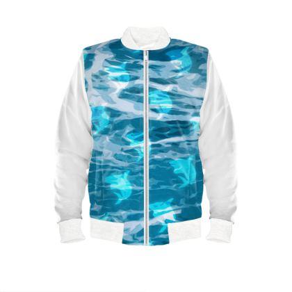 Mens Bomber Jacket - Shark Ocean Abstract