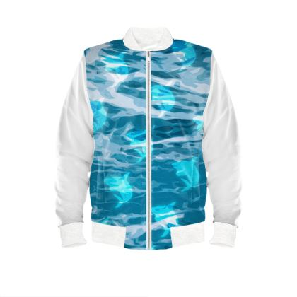 Ladies Bomber Jacket - Shark Ocean Abstract