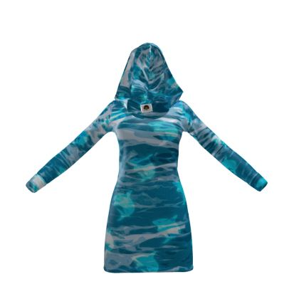 Hoody Dress - Shark Ocean Abstract
