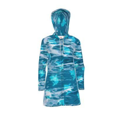 Womens Hooded Rain Mac - Shark Ocean Abstract