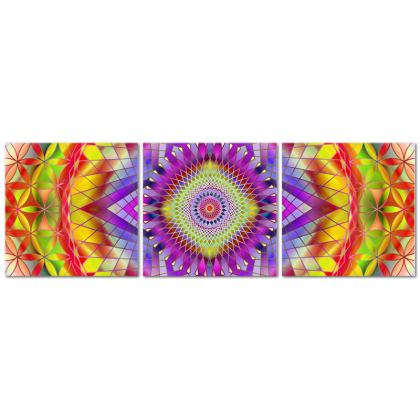 Triptych Canvas Mandala Snowflake