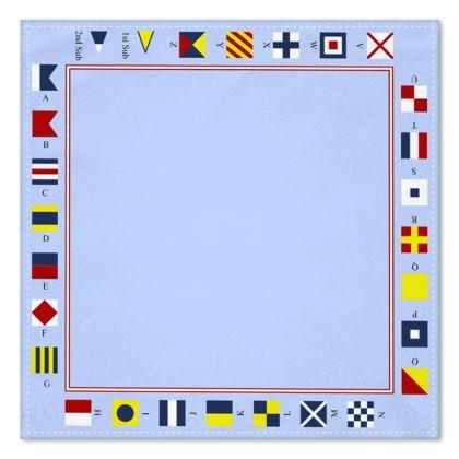 Signal Flags pocket square blue