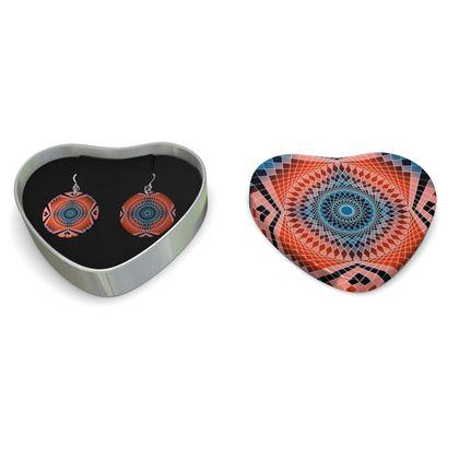 Sterling Silver Earrings Red Mandala