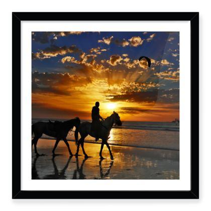 Beach Horse Sunset Silhouette Art Print