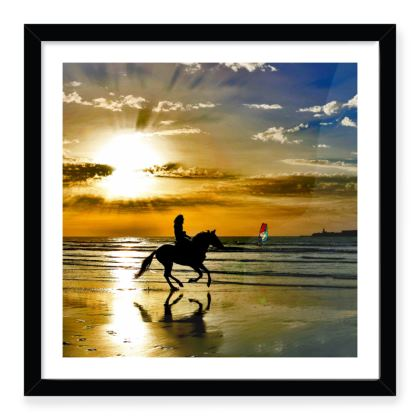 Galloping Horse Sunset Silhouette Print