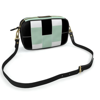 Camera bag  black, white and green
