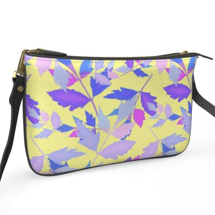 Pochette Double Zip Bag Cathedral Leaves Custard Cream