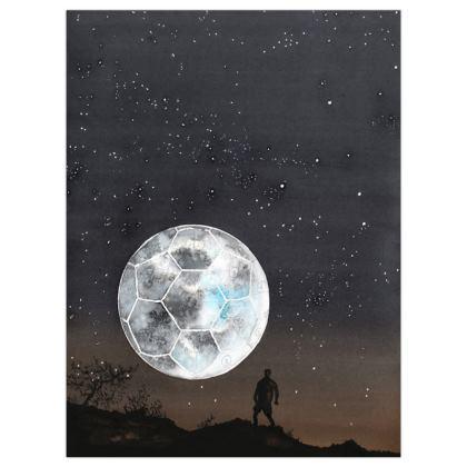 Satin Poster Print +A3 size : Football Moon. Watercolor image.