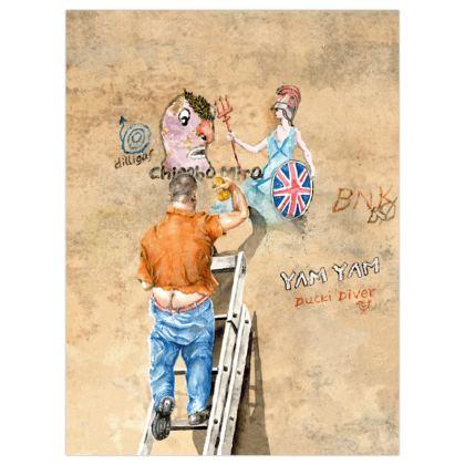 Satin Poster Print 30 x 40cms :Title : Dilligaf. Man Up Ladder. Britannia. Graffiti.