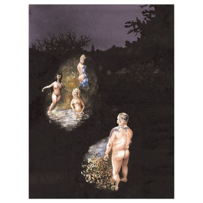 Satin Poster Print  +A3 size :Title : Maximus & Nymphs : Nudity : Mythical : Chiaroscuro : Bathing beauties