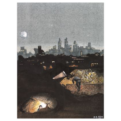 Satin Poster Print 30 x 40cms :Title : London Underground. London : Morning light : City Skyline : Bunkers : Foragers
