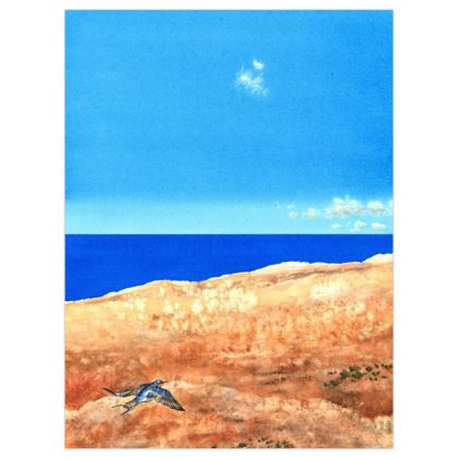 Poster Print +A3 size : Title : Someday...One day: Swallows: Desert: Blue Skies: Fluffy Clouds: Sea Scape