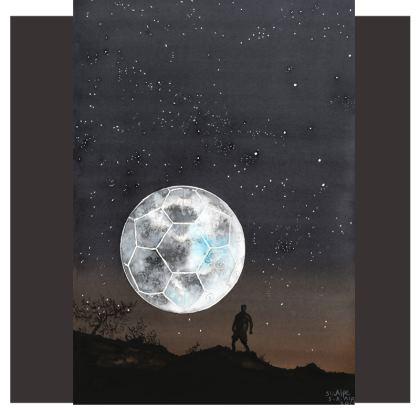 Cut And Sew T-Shirt. Football: Moon: Evening: Moody