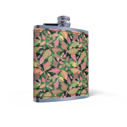 Leather Wrapped Hip Flask Cathedral Leaves Woodland
