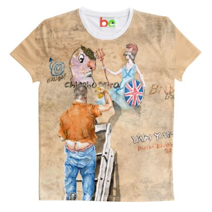 Cut And Sew All Over Print T Shirt : Title Dilligaf : Man Up a ladder : Britannia : Banksy:  (Product id:2931
