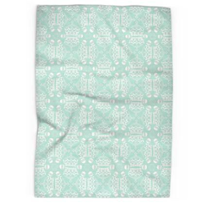 Light Mint Crown Orb Tea Towel