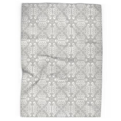 Light Grey Crown Orb Tea Towel