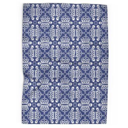Dark Blue Crown Orb Tea Towel