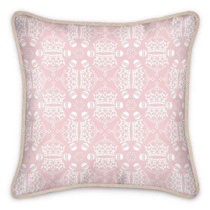 Light Pink Crown Orb Silk Cushion