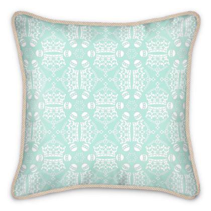 Light Mint Crown Orb Silk Cushion