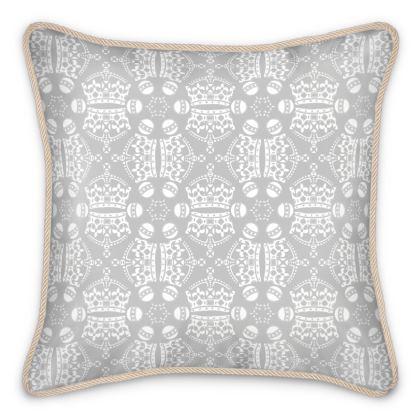Light Grey Crown Orb Silk Cushion