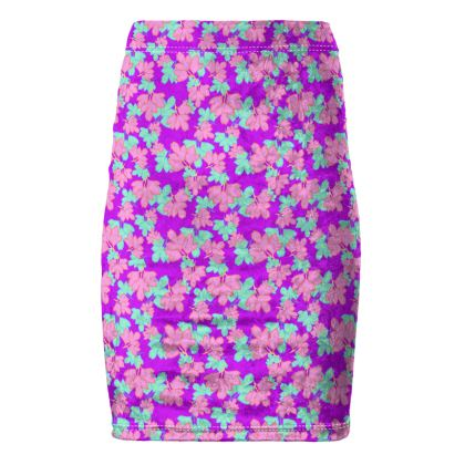Pencil Skirt Oriental Leaves Passion