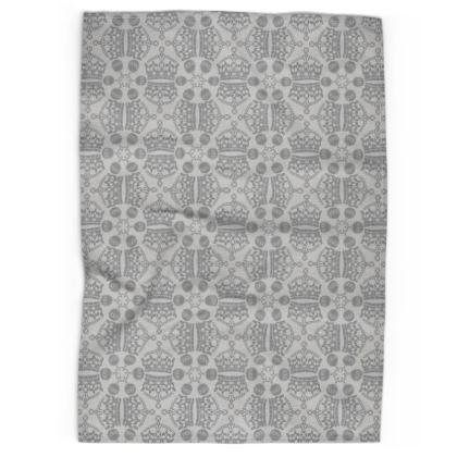 Grey Crown Orb Tea Towel