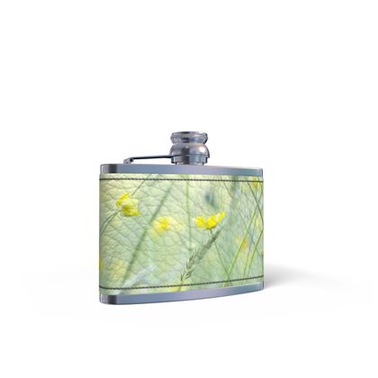 Leather Wrapped Hip Flask in Buttercup Meadow Flower Design.