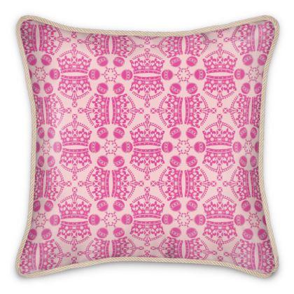 Pink Crown Orb Silk Cushion