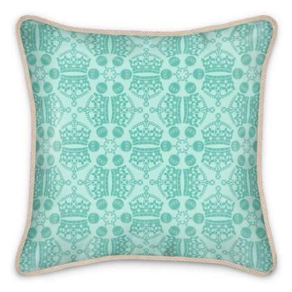 Mint Crown Orb Silk Cushion