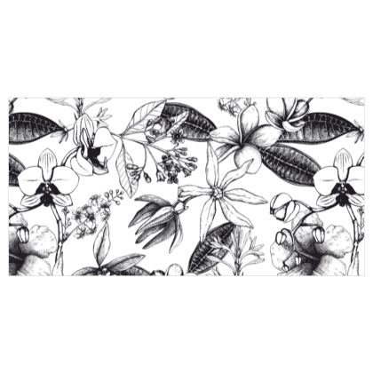 Black and White Exotic Floral Curtains