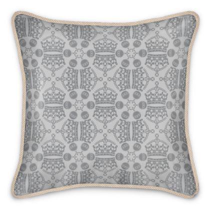Grey Crown Orb Silk Cushion
