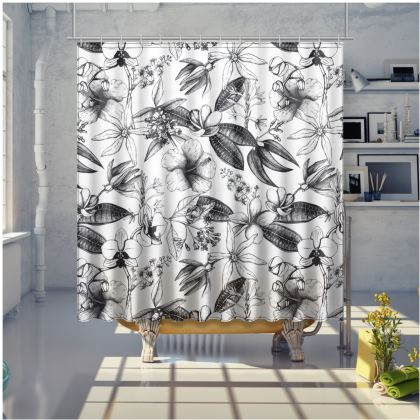 Black And White Exotic Floral Shower Curtain