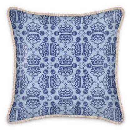 Light Blue Crown Orb Silk Cushion