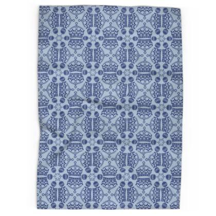 Light Blue Crown Orb Tea Towel