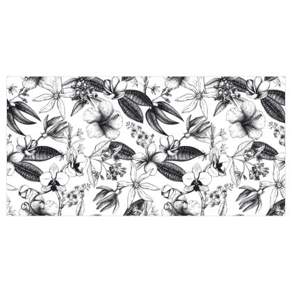 Black and White Exotic Floral Wallpaper