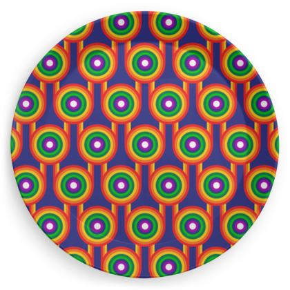 Blue rainbow pattern plate