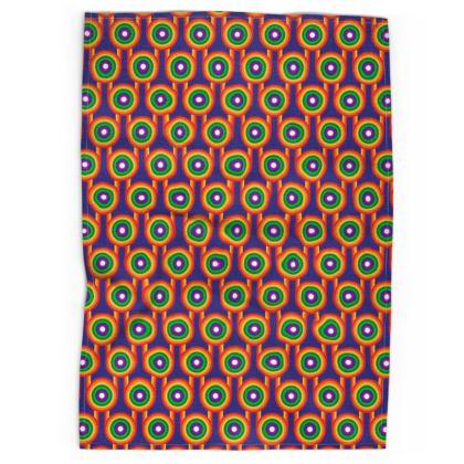 Blue Rainbow pattern tea towel