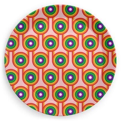 Pink rainbow pattern plate