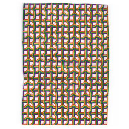 White Rainbow Grid pattern tea towel