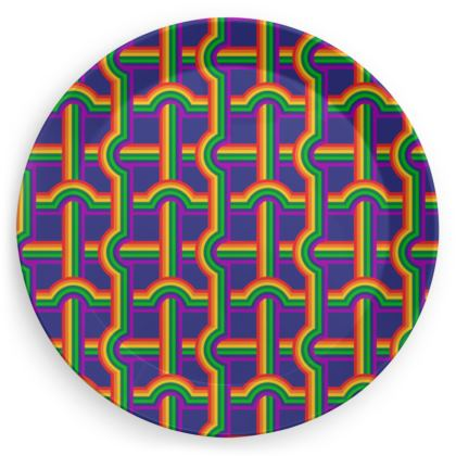 Blue rainbow grid pattern plate