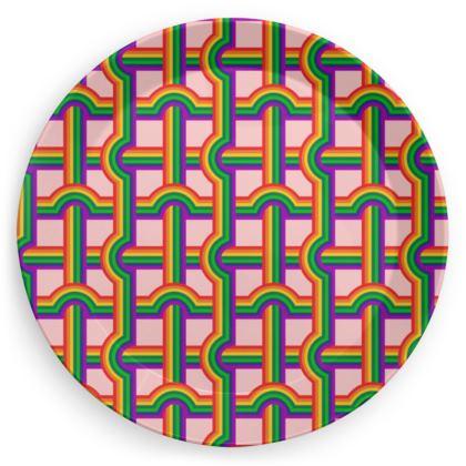 Pink rainbow grid pattern plate