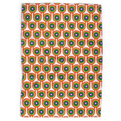 White Rainbow pattern tea towel