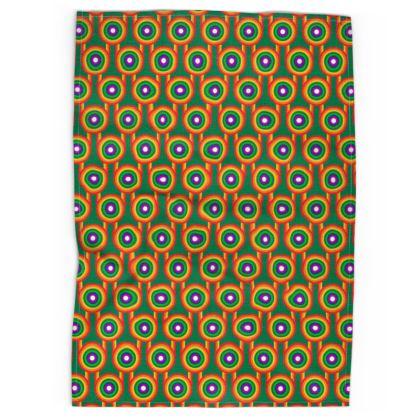 Green Rainbow pattern tea towel