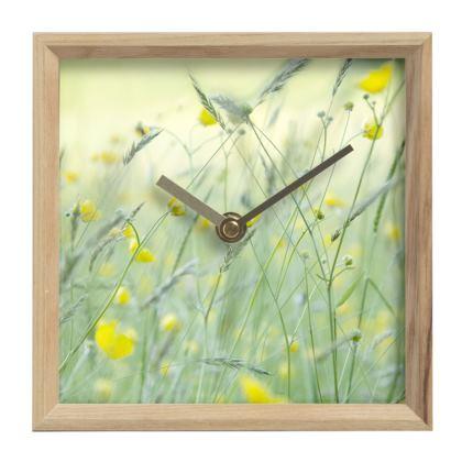A Mantle Clock in Buttercup Meadow Flower Design.