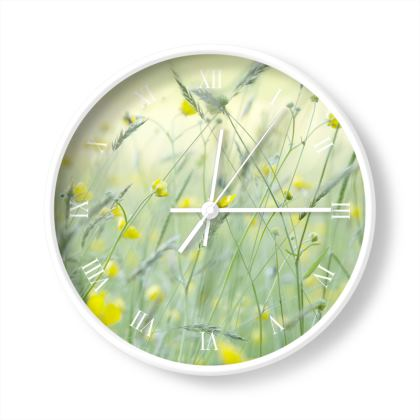 A Wall Clock in Buttercup Meadow Flower Design.